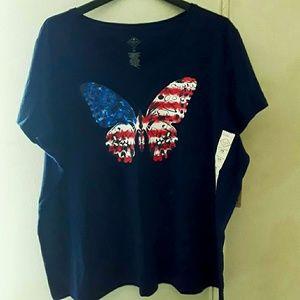 Navy Blue V-neck tshirt patriotic womens